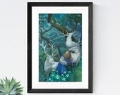 "Girl with Elks Art, 11x17 Archer Girl Painting, Forest Fantasy Fine Art Print,  ""Wishbreaker"""