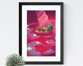 """Girl with Fox in Boat Fantasy Art, 11x17 Magical Sailing Red Painting, Boat Drifting Among Water Lilies Fine Art Print,  """"Adrift"""""""