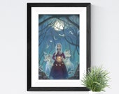 """Girl with Wolves Whimsical Art, 11x17 Magical Forest Fantasy Art Painting, White Hair Witch Fine Art Print,  """"Pathfinder"""""""