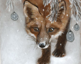 "Winter Fox Under Snowy Pine Fantasy Painting 8x10 Art Print - ""Haven"""