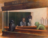 Universal Monsters in Nighthawks Parody Fine Art Print with Dracula, Wolfman, Bride of Frankenstein, Creature from Black Lagoon