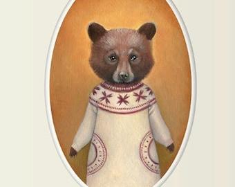 "Bear Art, Bear Cub in a Sweater Painting Wall Art, Nursery Bear Cub 8x10 Print, Animal Art Print, ""Abigail"""