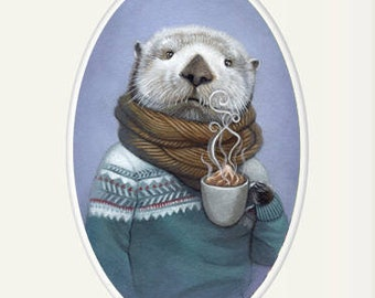 """Sea otter art, sea otter wearing a sweater with hot cocoa animal portrait painting wall art, 8x10 nursery art print, """"Wallace"""""""