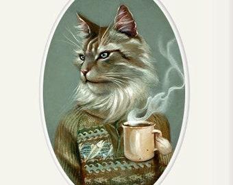 "Cat with coffee mug art print, Maine Coon cat animal portrait painting wall art, 8x10 home decor art print, ""Tigerius"""