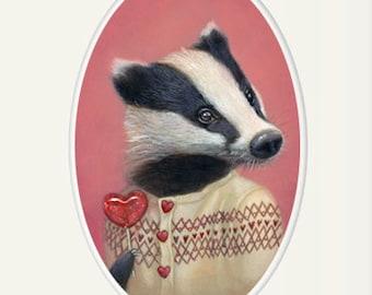 "Badger art, badger girl wearing a sweater with heart-shaped lollipop animal portrait painting wall art, 8x10 nursery art print, ""Beatrice"""