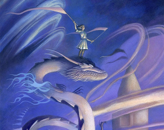 "Girl Riding a Dragon Art, 11x17 Asian Dragon with Flags Painting, Dragon with Castle in Clouds Fine Art Print,  ""Signal"""