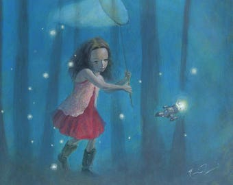 "Firefly Serenity 8x10 Art Print, Firefly Inspired Print, River Tam Painting,  ""Catching Fireflies"""