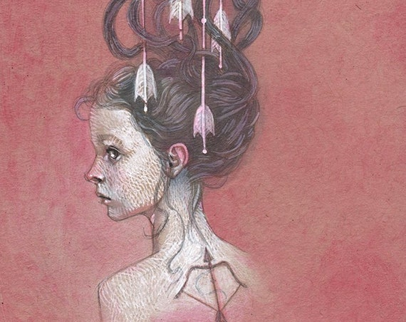 "Girl with Arrows in Her Hair Acrylic Painting, Archery Tattoo Original Art - ""Protection"""