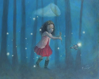 """Firefly Serenity 16x12 Fine Art Print, Firefly Inspired Print, River Tam,  """"Catching Fireflies"""" Limited Edition"""