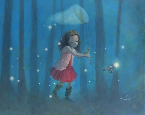 "Firefly Serenity 16x12 Fine Art Print, Firefly Inspired Print, River Tam,  ""Catching Fireflies"" Limited Edition"