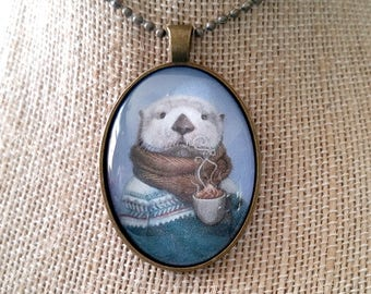 "Sea Otter Pendant, Otter with Hot Cocoa Jewelry, Fair Isle Sweater Large Glass Oval Cameo Necklace, ""Wallace"""
