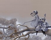 "Ravens 11x17 Fine Art Print, Crow Girls Art, Black Bird Skull Mask Painting - ""The Omens"""