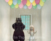 Bear with Girl 11x17 Art,...