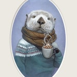 """Sea Otter Art, Otter with Hot Cocoa Painting, Fair Isle Sweater Print, Animal Art Print, """"Wallace"""""""