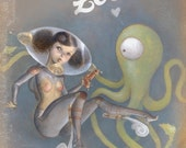"Space Pinup Girl Art, Astronaut Painting, Scifi Alien Tentacle Art Print - ""Raygun Love"""