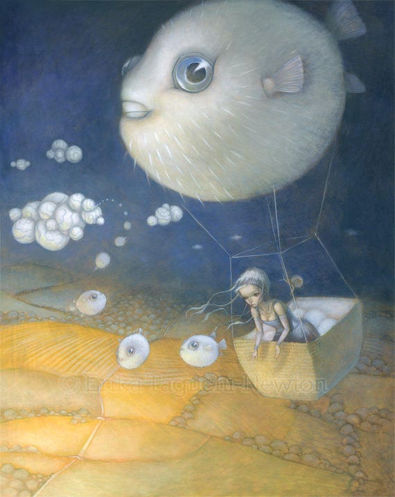"Blow Fish 12x16 Fine Art Print, Puffer Fish Painting, Hot Air Balloon Art, ""Blowfish Dreams"" Limited Edition"
