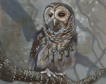 """Barred Owl with Keys Fantasy Painting 8x10 Art Print - """"Guide"""""""