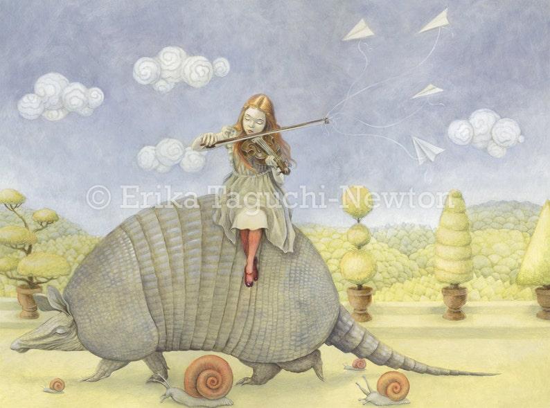 Armadillo 12x16 Fine Art Print Girl with Violin Painting image 0