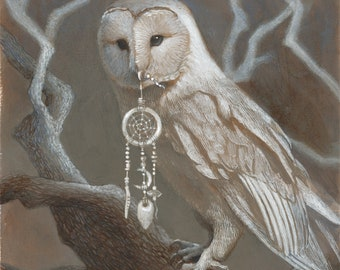"Barn Owl with Dreamcatcher Fantasy Painting 8x10 Art Print - ""Dream"""