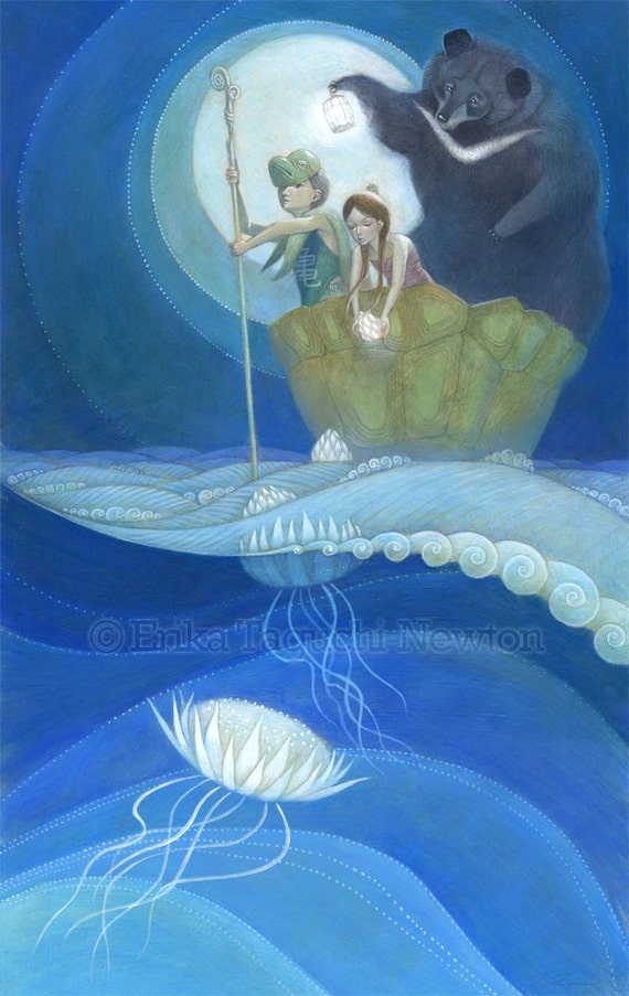 "Girl and Boy with Bear Art, 11x17 Flower Jellyfish Painting, Waves and Moon Fine Art Print, ""Moondrops"""