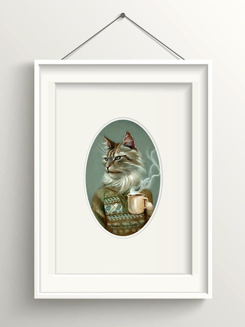 Cat with coffee mug art print Maine Coon cat animal portrait image 1