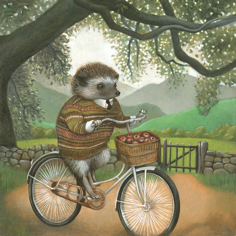 Hedgehog Wall Art Hedgehog on Bicycle Painting Forest Animal image 0