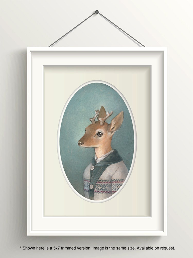 Hirsch-Kunst Hirsch Malerei Wald-Animal-Print Rehkitz