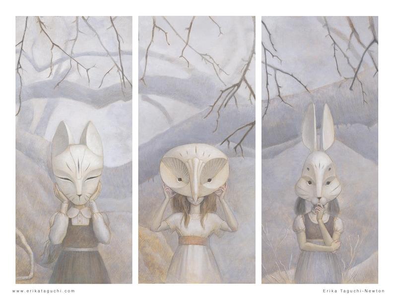 Girls in Masks Art 16x12 Forest Animal Masks Fine Art Print image 0