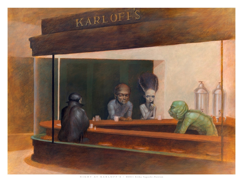 Universal Monsters in Nighthawks Parody Fine Art Print 16x12 image 0