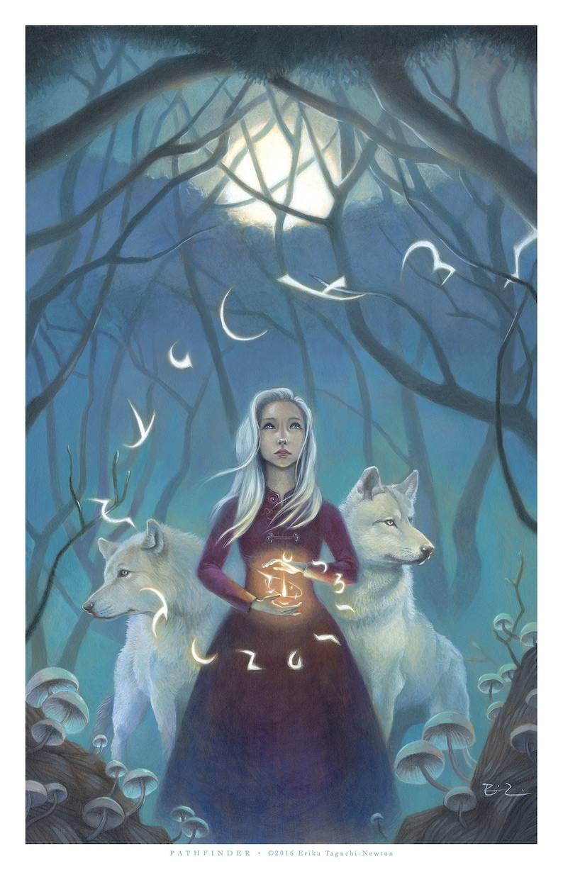 Girl with Wolves Spirit Animal Art 11x17 Magical Forest image 0