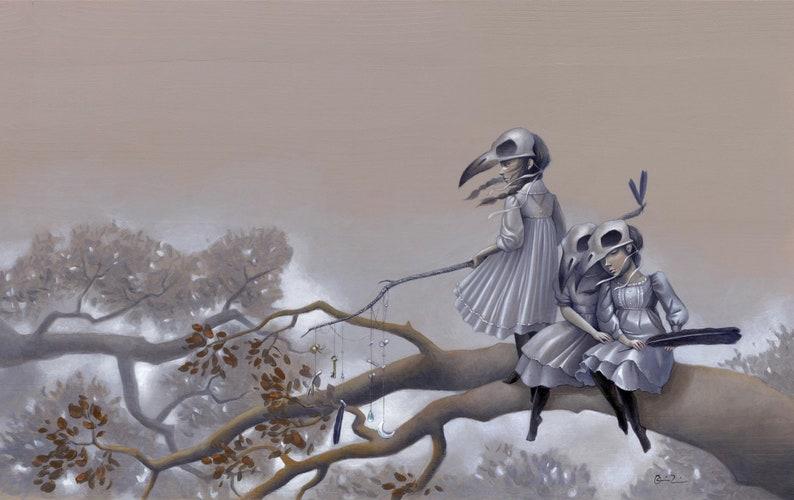 Raven Skull Mask Girls 11x17 Fine Art Print Crow Girls Art image 0