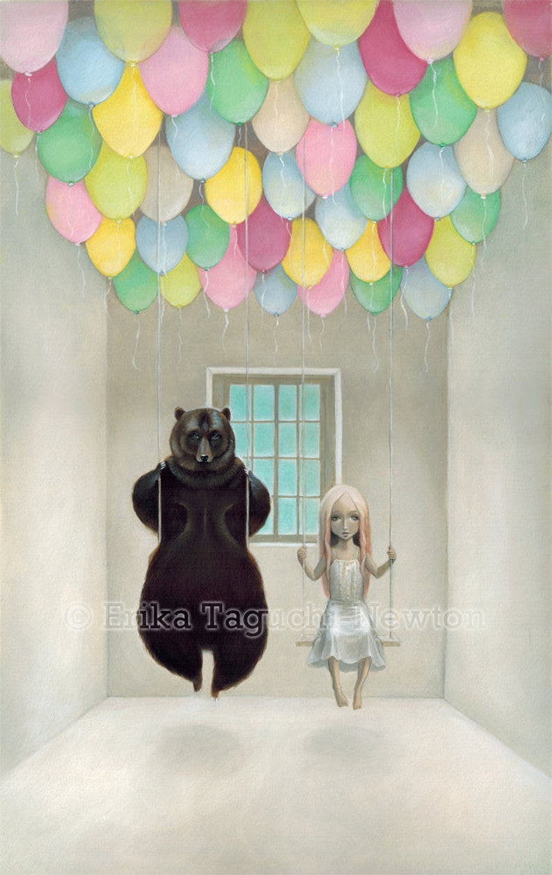 Bear with Girl 11x17 Art Balloon Painting Pop Surrealism image 1