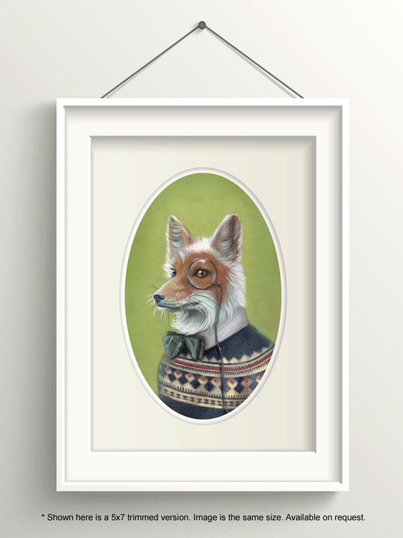 """Fox Art, Dapper Fox with Bow Tie and Monocle Painting, Fair Isle Sweater Print, Forest Animal Art Print, """"Oliver"""""""