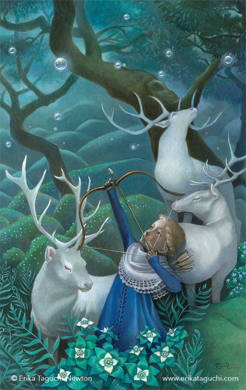 Girl with Elks Art 11x17 Archer Girl Painting Forest Fantasy image 0