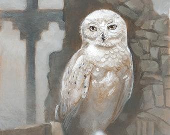 "Snow Owl Castle Fantasy Painting 8x10 Art Print - ""Ruins"""