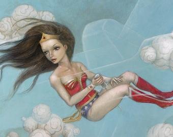 Wonder Woman 8x10 Art Print, Superhero Painting, Comic Book Wall Art