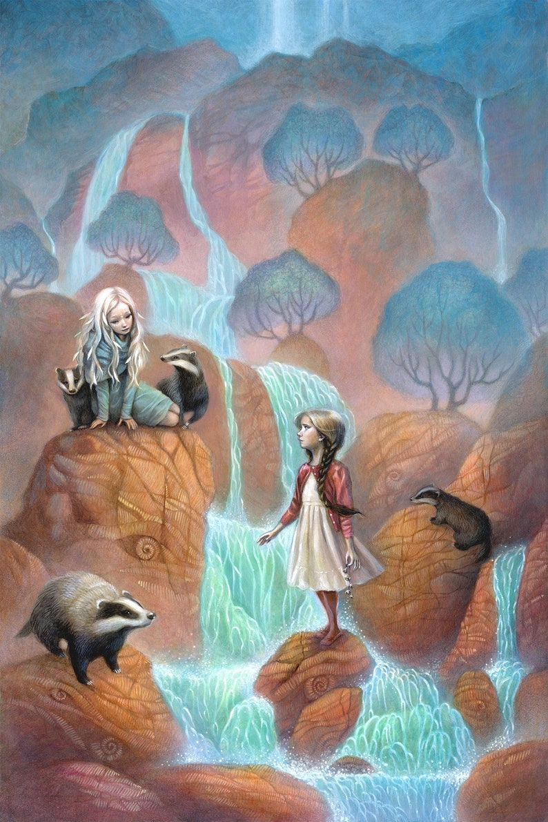 Girls by Waterfall Art 11x17 Badgers Fine Art Print image 0