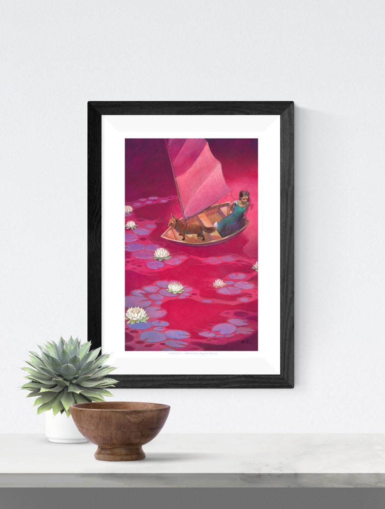 Girl with Fox in Boat Fantasy Art 11x17 Magical Sailing Red image 0