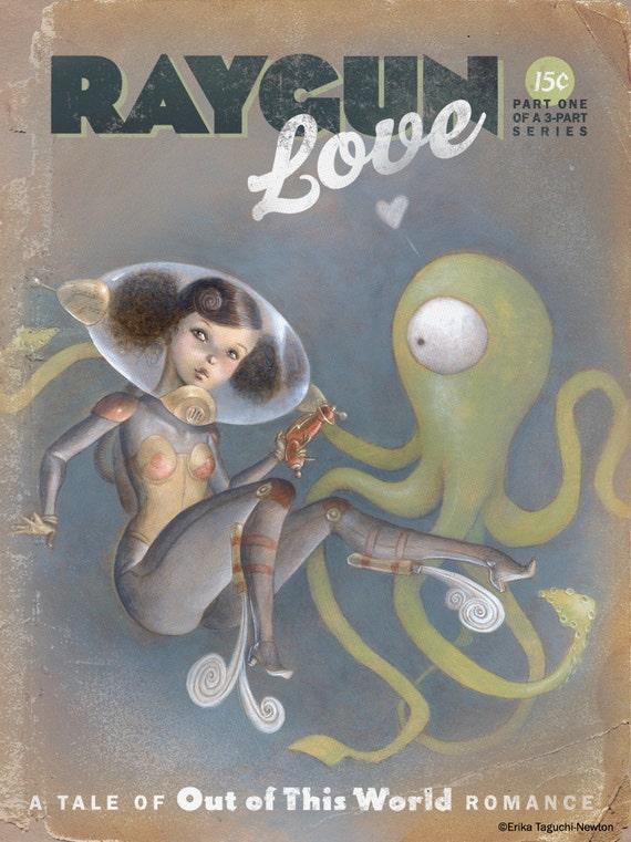 "Space Pinup Girl Art, Astronaut Painting, Scifi Alien Tentacle Art Print - ""Raygun Love"""