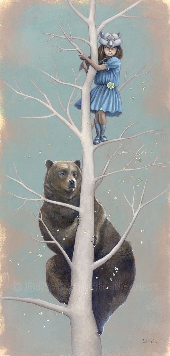 "Girl Climbing Tree Art, Brown Bear Fine Art Print, Mask Painting - ""The Lookouts"""