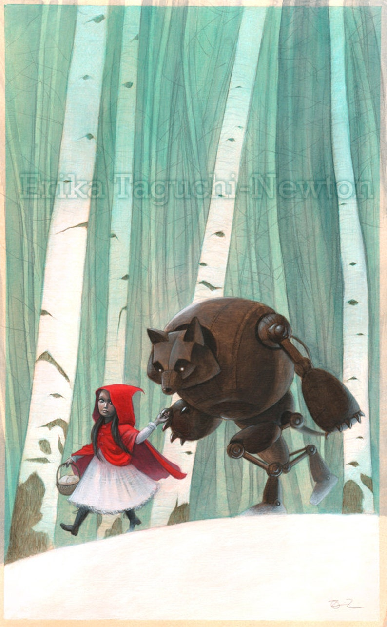 Whimsical Storybook Wall Art 9x12 of Little Red Riding Hood image 0
