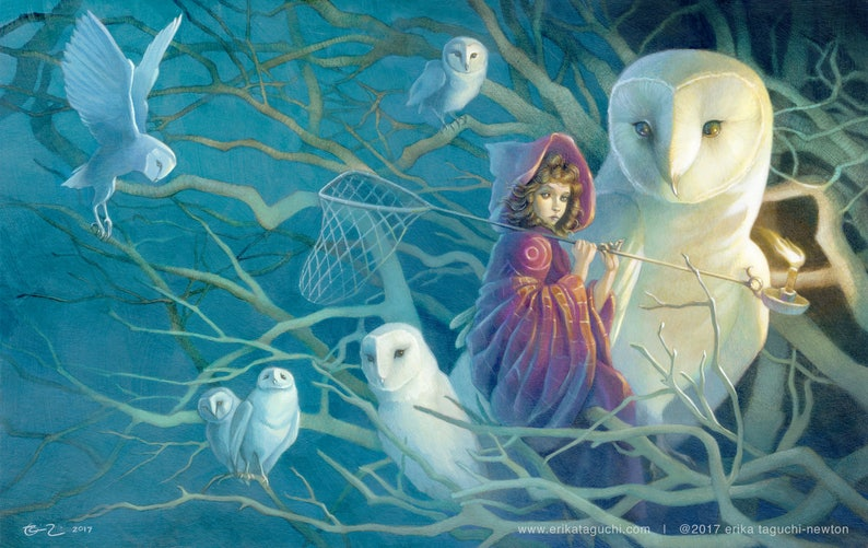Girl Catching Dreams 11x17 Fine Art Print Owls Art Spirit image 0