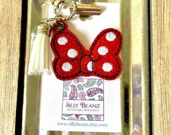 Mouse Bow Keychain * Minnie * polka dot bow * feltie keychain * glitter * embroidered feltie *
