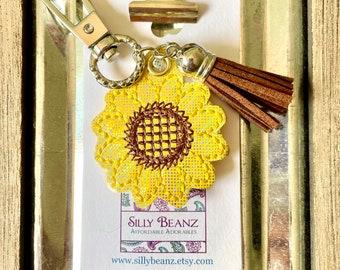 Sunflower Keychain * yellow flower * fall flower * autumn * feltie keychain * glitter * embroidered feltie *