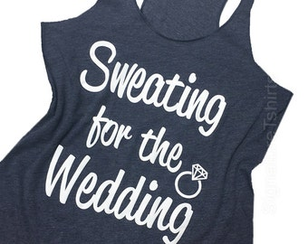 55e0c473871e1 Sweating For The Wedding Tank Top Women s Gym Workout Fitness Funny Bride  To Be Engagement Gift Bridesmaid Getting Married blue pink purple