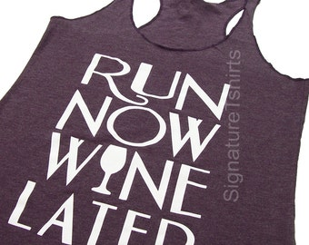 Run Now Wine Later Tank Top. Womens Tank Top. Workout Tank top. Marathon, Fitness Tank, Gym Tank, Work out tank Funny Christmas gift