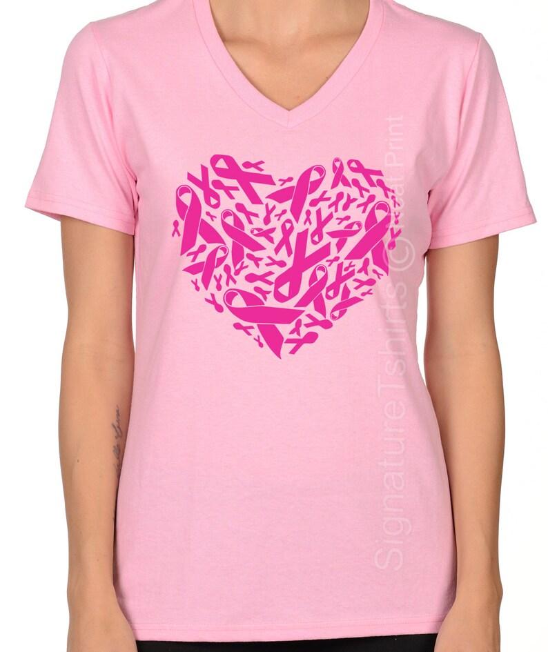 99186bfe Plus Size Pink Ribbon Heart Shirt Breast Cancer Shirt | Etsy