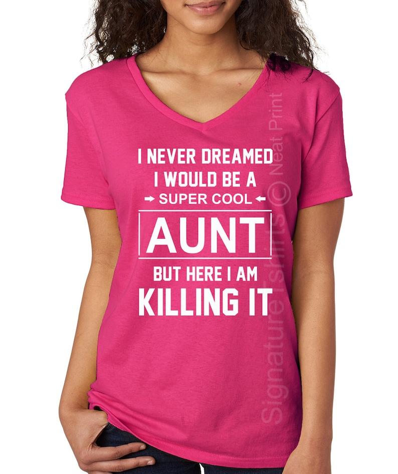 Birthday Gift For Aunt Womens V Neck T Shirt Baby Shower