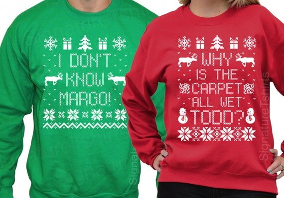 Couples Christmas Sweaters.Todd And Margo Matching Couples Ugly Christmas Sweatshirts Matching Christmas Shirts Set Of 2 Christmas