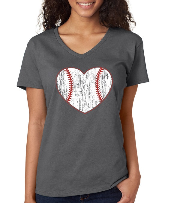 baseball herz shirt damen v hals t shirt baseball damen. Black Bedroom Furniture Sets. Home Design Ideas